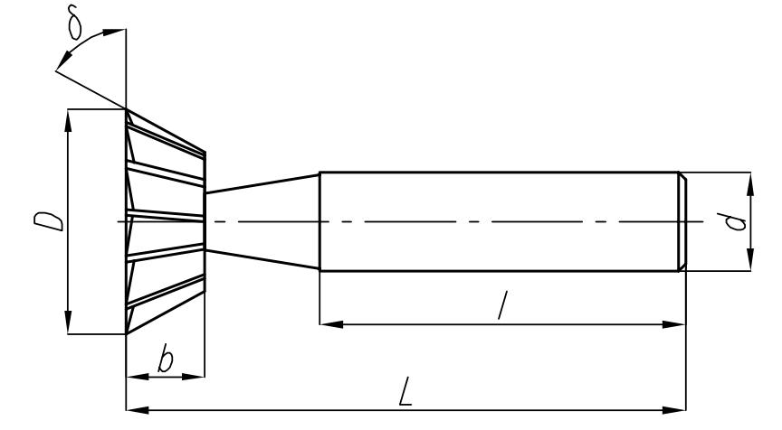 wymiary frezów zewnętrznych NFRf DIN-1833