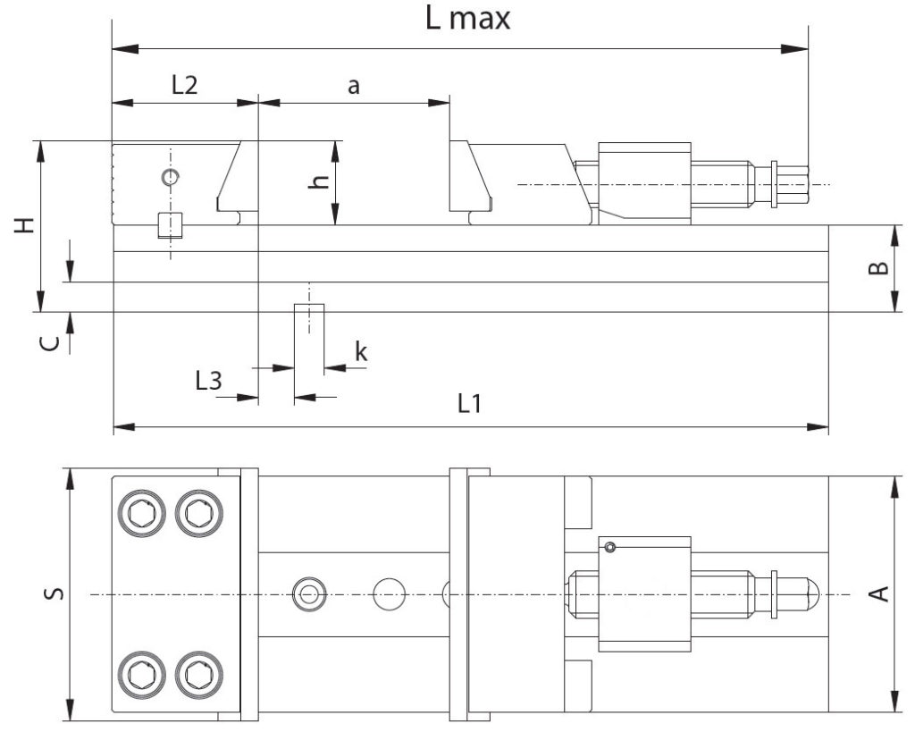 imadło maszynowe szkic przedstawiający wymiary