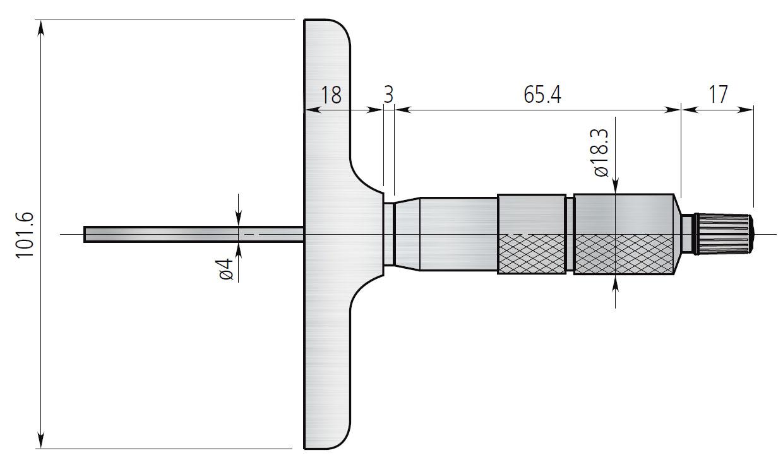 Wymiary standardowego głębokościomierz mikrometrycznego.