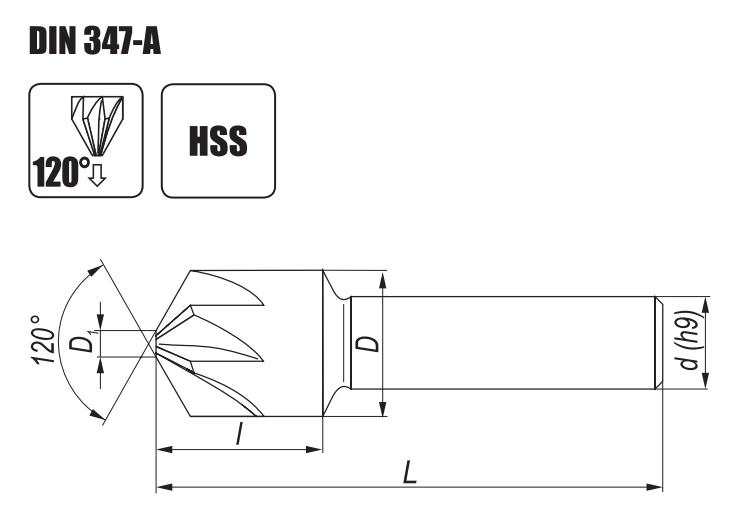 Wygląd pogłębiaczy stożkowych DIN-347-A