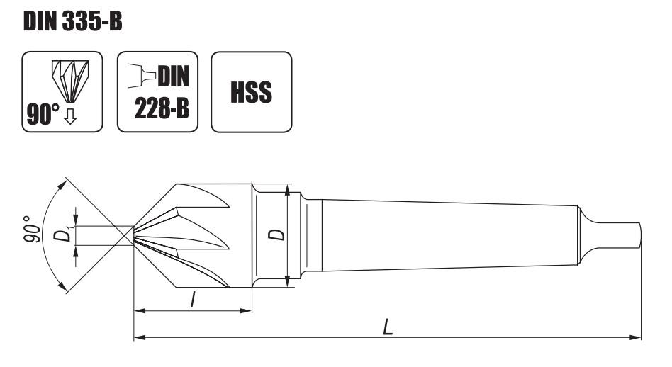 Wygląd pogłębiacza o kącie wierzchołkowym 90 stopni NWSb DIN 335B