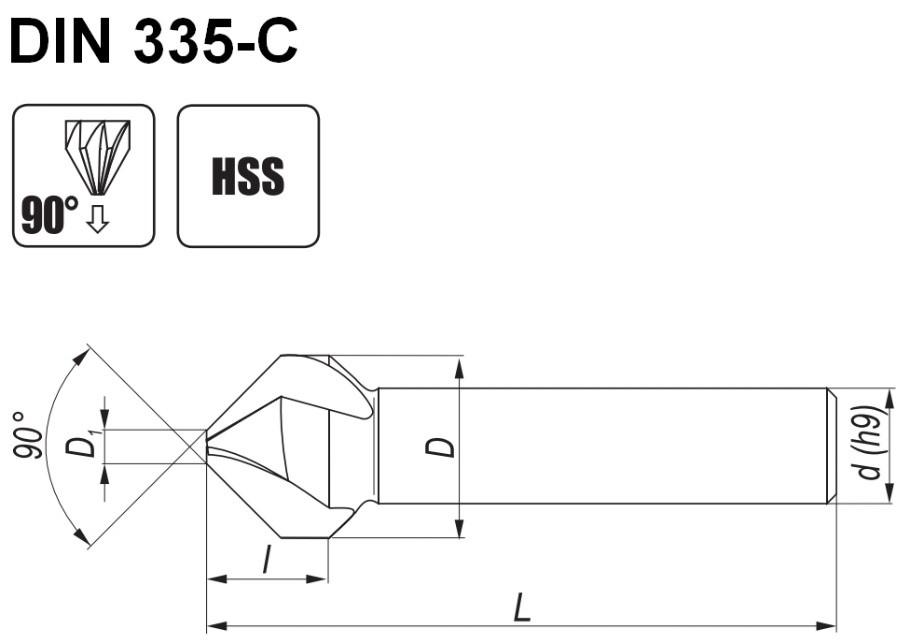Pogłębiacze stożkowe din335-c o kącie wierzchołkowym 90 stopni