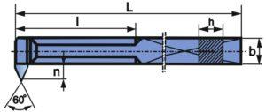 Wymiary noża do gwintu wewnętrznego NNGd-s