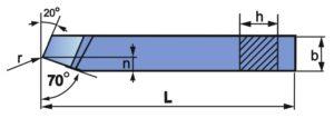 Wymiary noża tokarskiego prostego NNZa-b