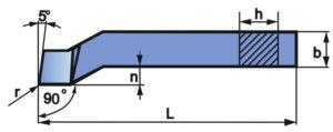 Wymiary noża bocznego osadzonego NNBe-f
