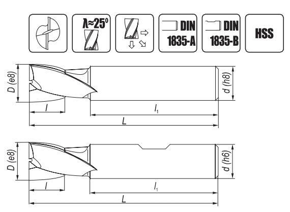 Rysunek przedstawia dane o wymiarach frezów trzpieniowych NFPg DIN-327