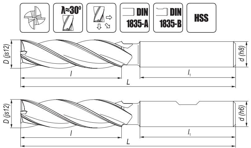 Krótkie frezy trzpieniowe NFPa DIN-844 HSS walcowo-czołowe o ostrzach centralnych
