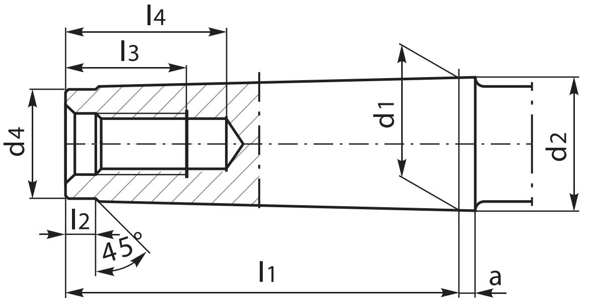 Wygląd stożków Morse'a DIN-228-A