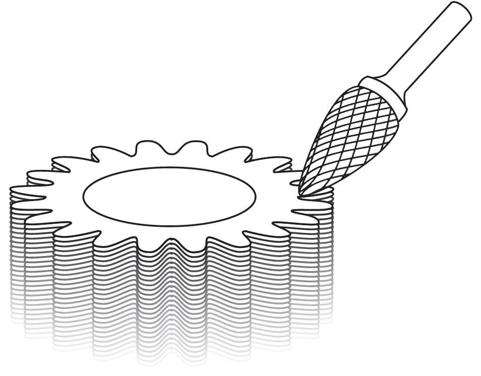 Pilnik rotacyjny łukowy ostry G zastosowanie