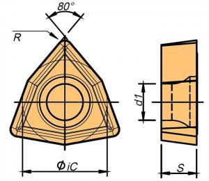 Rysunek techniczny płytki WCMT