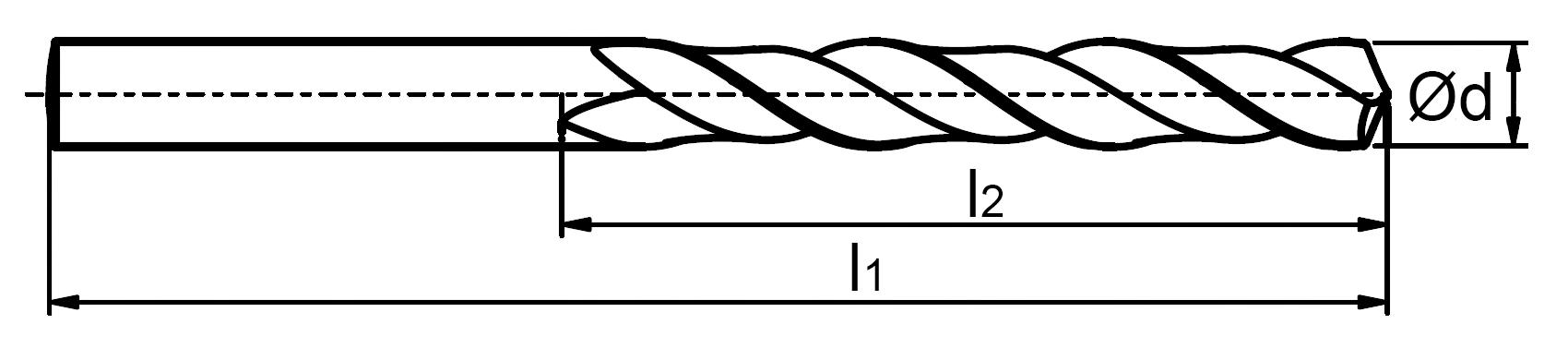 Wymiary- wiertło długie NWKb DIN-340