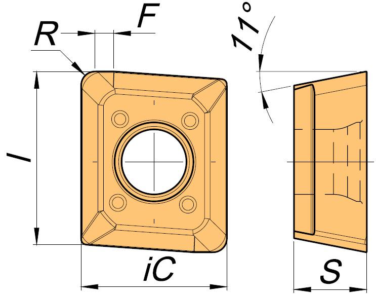 Płytka frezarska ACET rysunek techniczny