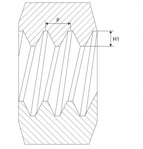 Rysunek wysokości zarysu gwintu H1