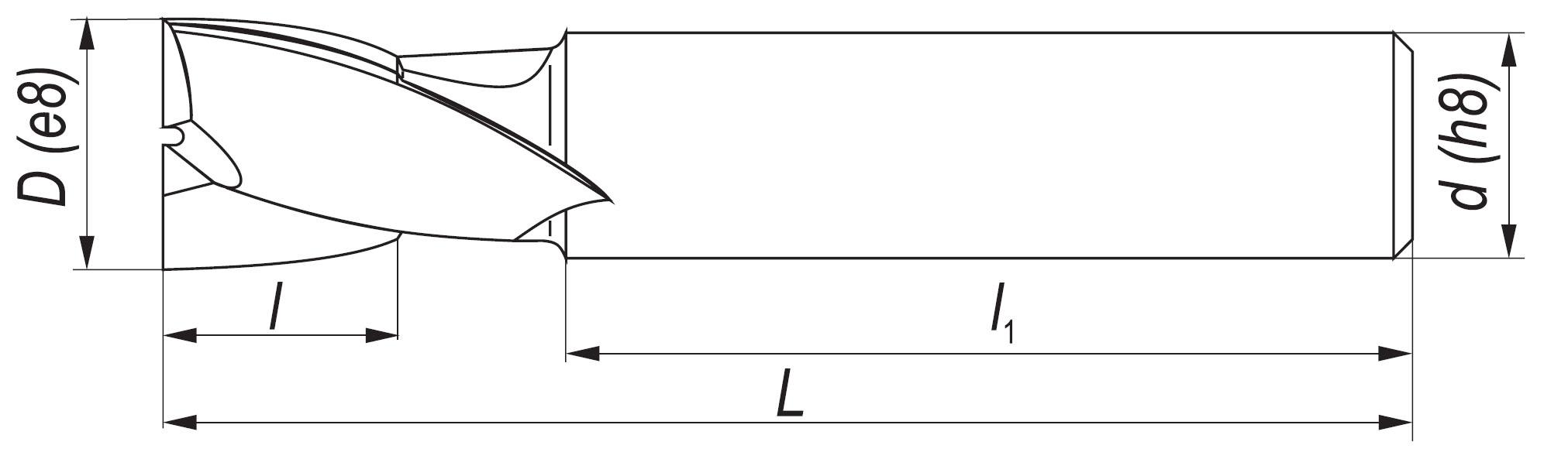 Rysunek techniczny freza NFPg DIN-327