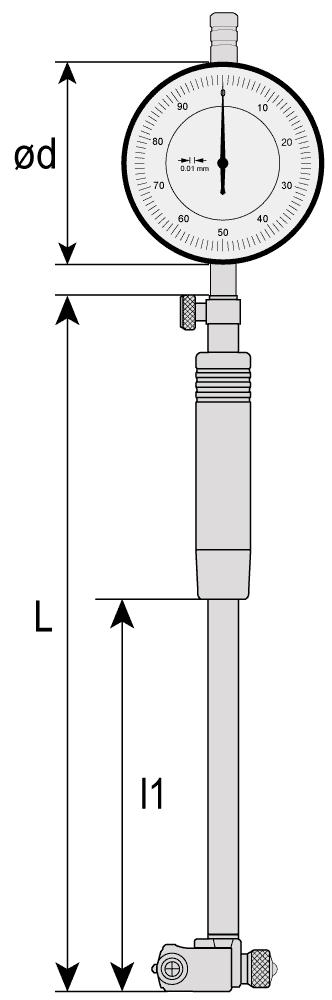 Średnicówka zegarowa dwupunktowa - wymiary